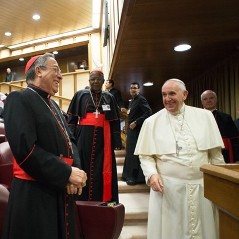Pope Francis in a joyful moment at the Synod on the Family.