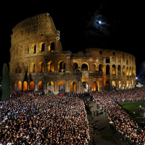 Crowds gathered for the Stations of the Cross, at the Colosseum in Rome, April 3, 2015.