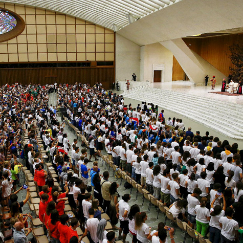Pope Francis meeting with members of the Eucharistic Youth Movement, Paul VI Hall, Vatican, August 7th, 2015.