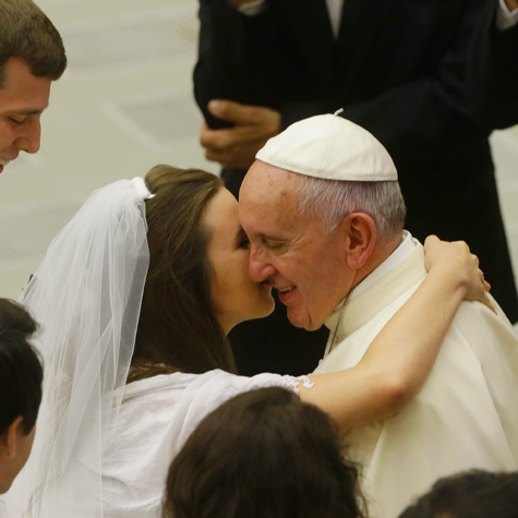 Pope Francis greeting newlyweds at his General Audience, Paul VI Hall, Vatican, August 5th, 2015.