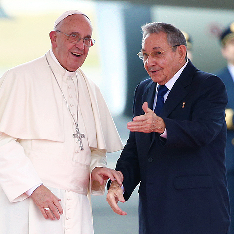President of Cuba, Raul Castro speaking with Pope Francis shortly after his arrival at the Jose Marti International Airport in Havana, Cuba, September 19th, 2015.