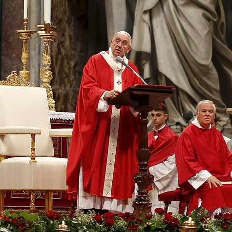 Pope Francis giving a homily at Mass to forty six new archbishops receiving their palliums, at St. Peter's Basilica, June 29th, 2015.