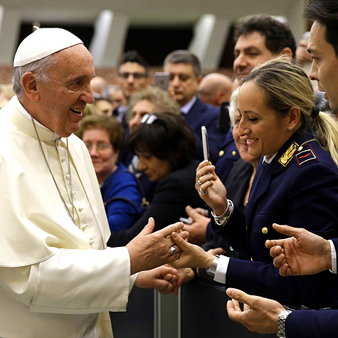 Pope Francis greeting police of Italy at Pope Paul VI Hall, May 21st, 2015.