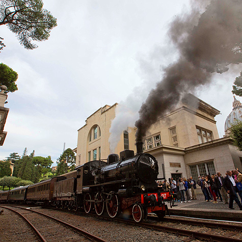 Pope Francis opened the pontifical villas of Castel Gandolfo for tours including regular train rides from the Vatican to Castel Gandolfo. This is the inaugural train, awaiting departure from the Vatican, Sept. 11th, 2015.