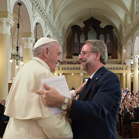 Pope Francis shaking hands with Eugenio Bernardini, Moderator of the Waldensian Church, Turin, Italy, June 22nd, 2015.